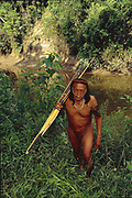 Yaminahua Indian with Bow & Arrow<br />Boca Mishagua River<br />Amazon Rain Forest, PERU.  South America<br />'Only contacted in 1988'