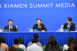 September 2, 2017 - Jiang Zengwei (C), director of the Organizing Committee of the BRICS Business Forum 2017 and chairman of China Council for the Promotion of International Trade, attends a press conference at the media center for the 2017 BRICS Summit in Xiamen, southeast China's Fujian Province. (Credit Image: © Li Xin/Xinhua via ZUMA Wire)