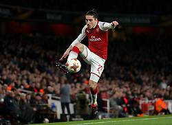 Hector Bellerin of Arsenal controls the ball - Mandatory by-line: Robbie Stephenson/JMP - 15/03/2018 - FOOTBALL - Emirates Stadium - London, England - Arsenal v AC Milan - UEFA Europa League Round of 16, Second leg