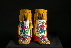 Adaka Cultural Festival 2016, Whitehorse, Yukon, Canada, Yukon First Nation Culture and Tourism Association, Kwanlin Dun Cultural Centre, Dolores Scheffen, beadwork, moccasins