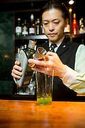Bartender Shinobu Ishigaki at the Ishinohana Bar Shibuya,Tokyo, Japan