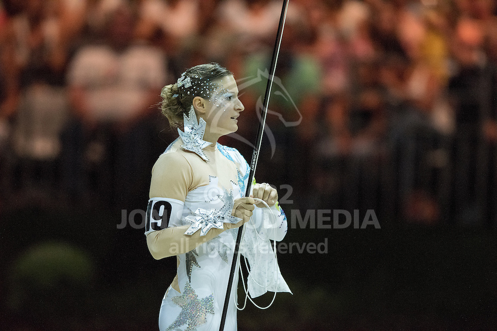 Rikke Laumann, (DEN), Ghost Alfarvad Z, Lasse Kristensen - Individuals Women Freestyle Vaulting - Alltech FEI World Equestrian Games™ 2014 - Normandy, France.<br /> © Hippo Foto Team - Jon Stroud<br /> 03/09/2014