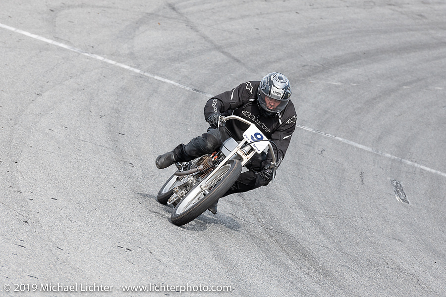 Dan Toce riding his 61 ci board track style motorcycle racer in the Sons of Speed Vintage Motorcycle Races at New Smyrina Speedway. New Smyrna Beach, USA. Saturday, March 9, 2019. Photography ©2019 Michael Lichter.
