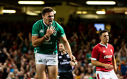 Jacob Stockdale of Ireland celebrates scoring his sides first try<br /> <br /> Photographer Simon King/Replay Images<br /> <br /> Friendly - Wales v Ireland - Saturday 31st August 2019 - Principality Stadium - Cardiff<br /> <br /> World Copyright © Replay Images . All rights reserved. info@replayimages.co.uk - http://replayimages.co.uk