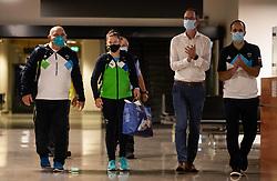 Coach Marjan Fabjan and Judoka Tina Trstenjak, Olympic silver medalist during her arrival from Tokyo 2020 on July 28, 2021 in Airport Joze Pucnik, Brnik, Ljubljana, Slovenia. Photo by Vid Ponikvar / Sportida