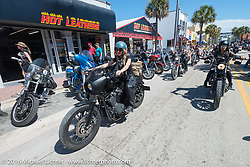 Leticia Cline and the Iron Lillies on the Hot Leathers ride in downtown Daytona during the Daytona Bike Week 75th Anniversary event. FL, USA. Tuesday March 8, 2016.  Photography ©2016 Michael Lichter.
