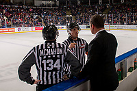 KELOWNA, CANADA - DECEMBER 29: Kelowna Rockets' head coach Adam Foote stands on the bench speaking to ice officials at the end of the period against the Kamloops Blazers on December 29, 2018 at Prospera Place in Kelowna, British Columbia, Canada.  (Photo by Marissa Baecker/Shoot the Breeze)