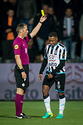 (L-R) referee Danny Makkelie, Lerin Duarte of Heracles Almelo during the Dutch Eredivisie match between Heracles Almelo and Feyenoord Rotterdam at Polman stadium on September 09, 2017 in Almelo, The Netherlands