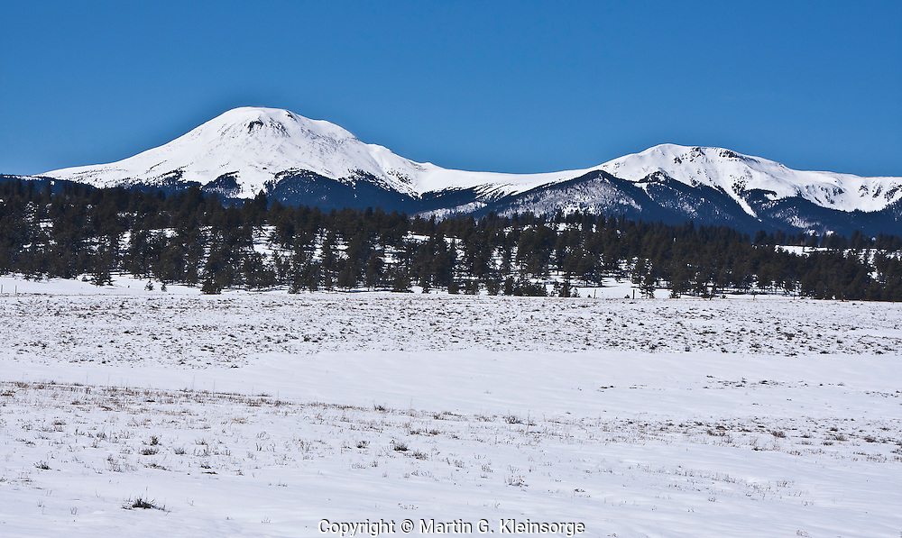 Snow covered Buffalo Peaks of the Mosquito Range.  Viewed from the South Park area, Colorado.