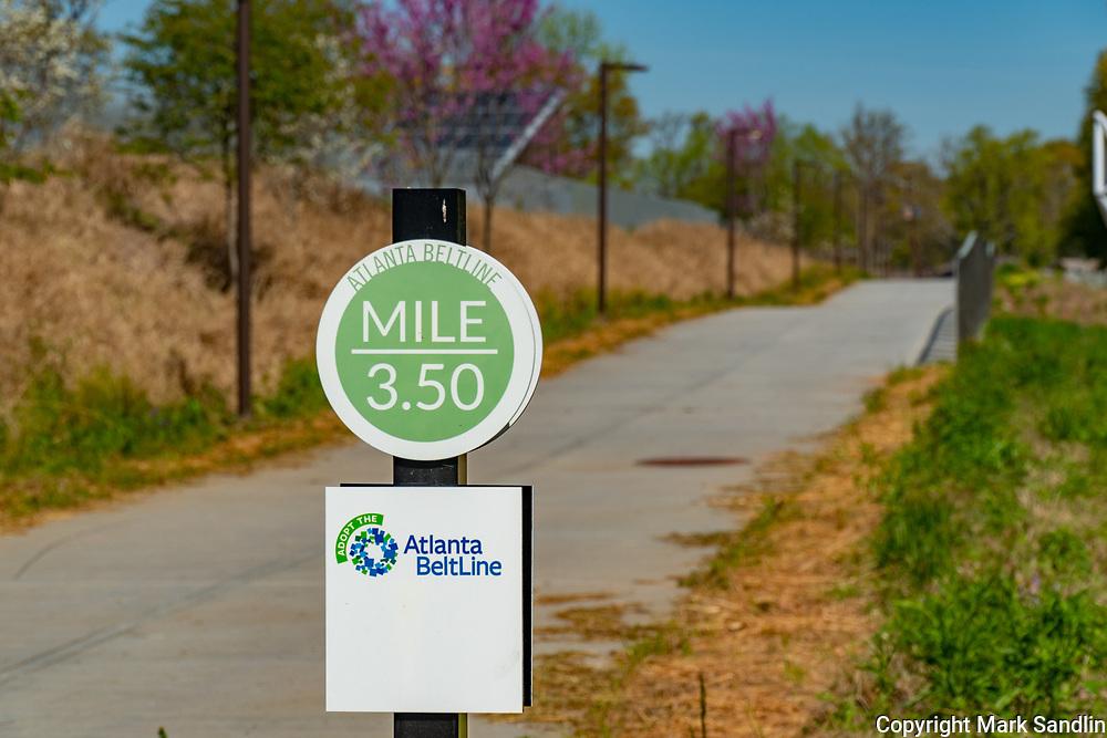 Mile markers dot the Atlanta Beltline