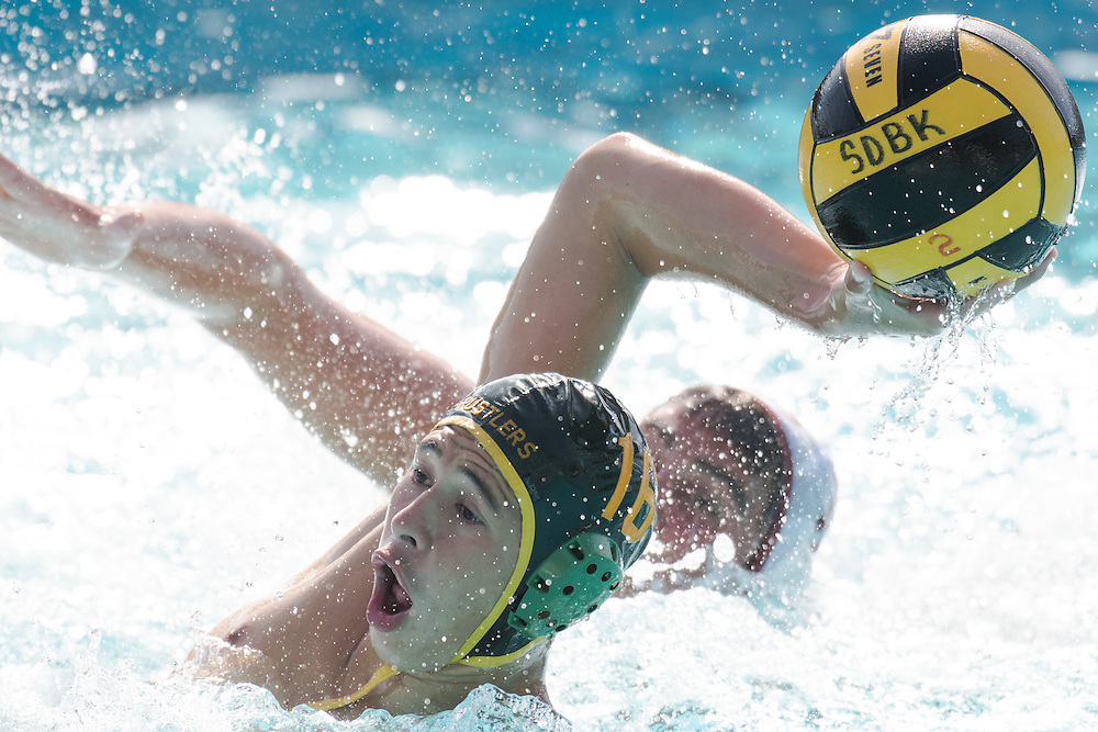 11/4/161:57:50 PM --- Water Polo --- Jacob Thompson (16) from Golden West College shoots during a match between Golden West and Saddleback at Saddleback College in Mission Viejo, CA.<br /> <br /> Photo by Brian Rothmuller, Sports Shooter Academy