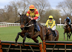 Nearly Perfect ridden by Bryony Frost during the Abacus Decorators Lady Riders' Handicap Hurdle race at Uttoxeter Racecourse.