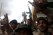 Vetran officers and members of newly formed militas at a military base in Benghazi on Feb. 26, 2011.