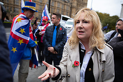 © Licensed to London News Pictures. 06/11/2018. London, UK. Janice Atkinson MEP speaks to media as Stephen Yaxley-Lennon, also known as Tommy Robinson, is seen in Westminster talking to pro-Trump supporters and anti-Brexit demonstrators. Photo credit : Tom Nicholson/LNP