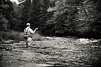 Jay Ericson casting for trout on the upper Connecticut River in northern New Hampshire.