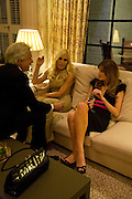 GIANCARLO GIACOMETTI, DONATELLA VERSACE AND JEMIMA KHAN, Dinner hosted by Elizabeth Saltzman for Donatella Versace. Claridge's Hotel, Brook Street, Mayfair, London. 11 March 2008.  *** Local Caption *** -DO NOT ARCHIVE-© Copyright Photograph by Dafydd Jones. 248 Clapham Rd. London SW9 0PZ. Tel 0207 820 0771. www.dafjones.com.