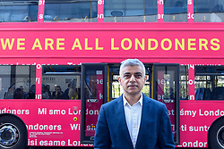 """© Licensed to London News Pictures. 29/03/2019. LONDON, UK.  Mayor of London, Sadiq Khan, launches a branded """"We are all Londoners"""" bus as a it begins a four-day """"advice roadshow"""" across the capital.  Staff on the bus will visit locations with high numbers of European nationals, offering them guidance on how to apply for Settled Status to remain in the UK following Brexit.  The bus tour coincides with the opening of the Government's EU Settlement Scheme.  Photo credit: Stephen Chung/LNP"""