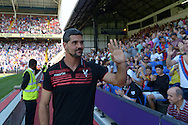 Goalkeeper Julian Speroni of Crystal Palace arrives at pitchside (not in the squad) to wave to the Palace fans before k/o. Barclays Premier league match, Crystal Palace v Aston Villa at Selhurst Park in London on Saturday 22nd August 2015.<br /> pic by John Patrick Fletcher, Andrew Orchard sports photography.