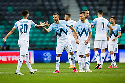 Nino Kouter of Slovenia with Petar Stojanovic of Slovenia  during the UEFA Nations League C Group 3 match between Slovenia and Moldova at Stadion Stozice, on September 6th, 2020. Photo by Grega Valancic / Sportida