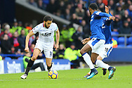 Andros Townsend of Crystal Palace looks to go past Gylfi Sigurdsson and Cuco Martina of Everton. Premier league match, Everton v Crystal Palace at Goodison Park in Liverpool, Merseyside on Saturday 10th February 2018. pic by Chris Stading, Andrew Orchard sports photography.