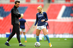 Chloe Kelly of Manchester City Women warms up prior to kick-off- Mandatory by-line: Nizaam Jones/JMP - 29/08/2020 - FOOTBALL - Wembley Stadium - London, England - Chelsea v Manchester City - FA Women's Community Shield