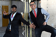 Jorgen Raymann en Ramon Beuk onthullen plannen voor <br /> dé nieuwe culinaire comedyshow Tasty Comedy op de de volledig gerenoveerde Pier in Scheveningen. Tasty Comedy een avondvullende comedyshow met een 4-gangen 'shared dining' diner op een unieke locatie.<br /> <br /> Op de foto:  Jörgen Raymann en Ramon Beuk