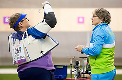 Damjan Pavlin of Slovenia and coach Polonca Sladic during the Men's R5-10m Air Rifle Prone shooting Final during Day 4 of the Summer Paralympic Games London 2012 on September 1, 2012, in Royal Artillery Barracks, London, Great Britain. (Photo by Vid Ponikvar / Sportida.com)