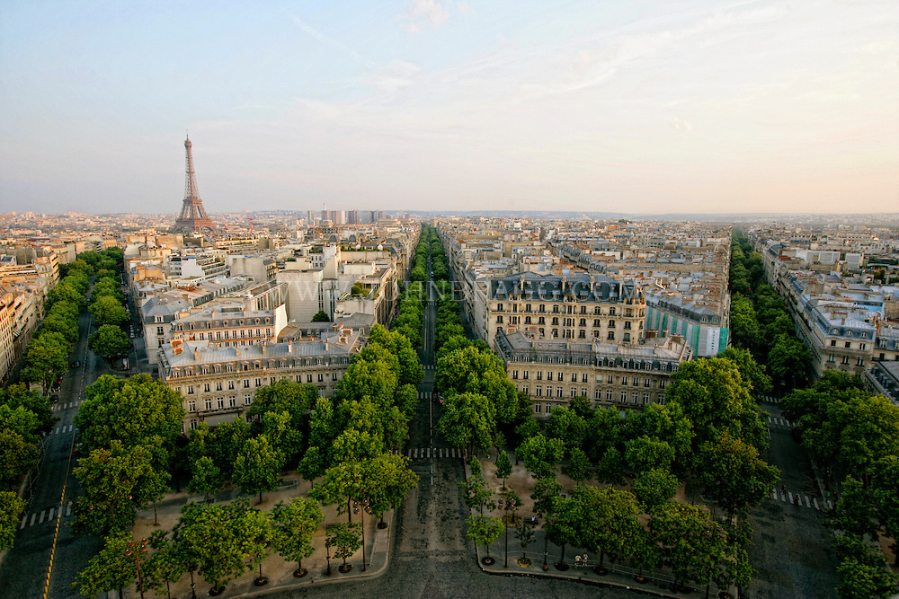 Elevated view of the Paris Skyline, France (Horizontal).