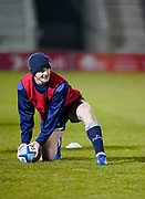 Sale Sharks AJ McGinty warms up before the match during a Gallagher Premiership Round 9 Rugby Union match, Friday, Feb 12, 2021, in Leicester, United Kingdom. (Steve Flynn/Image of Sport)