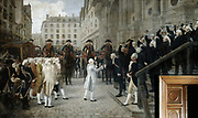 Louis XVI received by Jean Bailly, Mayor of Paris, 17 July 1789', 3 days after fall of the Bastille  Oil on canvas. Jean-Paul Laurens 1838-1921, French Academic painter.  Bailly, astronomer, revolutionary,  and first Mayor of Paris