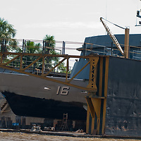 A Peruvian naval vessel sits in an Amazon River dry dock between border patrols with Brazil and Ecuador.