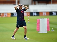 Cricket - 2019 ICC Cricket World Cup - pre-Final practice & press conferences<br /> <br /> England's Jonny Bairstow in good spirits during slip fielding practice, at Lords.<br /> <br /> COLORSPORT/ASHLEY WESTERN