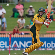 Australian captain Karen Rolton batting during the Australia V New Zealand group A match at North Sydney Oval in the ICC Women's World Cup Cricket Tournament, in Sydney, Australia on March 8, 2009. New Zealand beat Australia by 13 runs in the (D/L method)  rain affected match. Photo Tim Clayton
