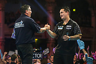 Jefferey de Zwaan congratulates Gary Anderson on his victory during the BetVictor World Matchplay Darts 2018 semi final at Winter Gardens, Blackpool, United Kingdom on 28 July 2018. Picture by Shane Healey.