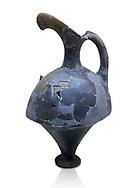 Hittite spouted pitcher, Hittite capital Hattusa, Hittite  Middle  Kingdom 1650-1450 BC, Bogazkale archaeological Museum, Turkey. White  background