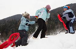 Children during Normal Hill Individual Competition at FIS World Cup Ski jumping Ladies Ljubno 2012, on February 11, 2012 in Ljubno ob Savinji, Slovenia. (Photo By Vid Ponikvar / Sportida.com)