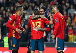 March 23, 2019 - Valencia, Valencia, Spain - Jordi Alba and Sergio Ramos of Spain celebrating a goal during European Qualifiers championship, , football match between Spain and Norway, March 23th, in Mestalla Stadium in Valencia, Spain. (Credit Image: © AFP7 via ZUMA Wire)