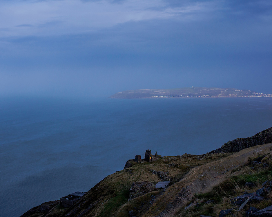 View from top of Panmaenmawr Quarry looking out to sea
