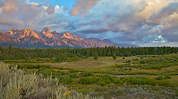 """Grand Teton Sunrise at Moose Flats in Grand Teton National Park at Jackson Hole, Wyoming.<br /> <br /> For production prints or stock photos click the Purchase Print/License Photo Button in upper Right; for Fine Art """"Custom Prints"""" contact Daryl - 208-709-3250 or dh@greater-yellowstone.com"""