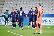 Olivier Giroud (FRA) scored a goal against Robin Olsen (SWE), celebration in arms of Kylian Mbappe (FRA), next to Adrien Rabiot (FRA), Lucas Digne (FRA), Moussa Sissoko (FRA), Antoine Griezmann (FRA)during the UEFA Nations League football match between France and Sweden on November 17, 2020 at Stade de France in Saint-Denis, France - Photo Stephane Allaman / ProSportsImages / DPPI