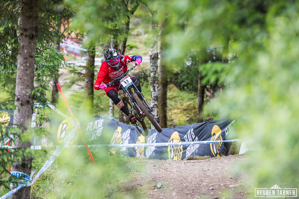Jack Moir takes flight during his race run at the UCI Mountain Bike World Cup in Fort William.