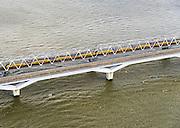 Nederland, Zuid-Holland, Hollandsch Diep, 23-10-2013; Tweesporige spoorbrug voor reguliere trein en de tweesporige brug voor de HSL over het Hollandsch Diep. Dubbeldekstrein passeert. <br /> Double-track railway for regular trains and double-track bridge for the HST over the Hollandsch Diep.<br /> luchtfoto (toeslag op standaard tarieven);<br /> aerial photo (additional fee required);<br /> copyright foto/photo Siebe Swart.
