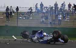 April 8, 2017 - Shanghai, China - ANTONIO GIOVANAZZI (Sauber F1 Team) crashes during qualifying for the Formula One Chinese Grand Prix, at Shanghai Circuit. (Credit Image: © Hoch Zwei via ZUMA Wire)