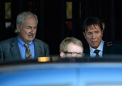© Licensed to London News Pictures. 17/10/2016. London, UK. American-British radio and television presenter PUAL GAMBACCINI (left) and British pop singer SIR CLIFF RICHARD seen leaving the Houses of Parliament in London after meeting with MPs to discuss the anonymity of people accused of sexual offences. Sir Cliff Richards home was raided by police in connection with a sexual assault. The event was party broadcast live on the BBC.  Photo credit: Ben Cawthra/LNP