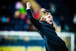 Steven Pressley, Falkirk manager, celebrates after Falkirk's Lewis Small scored Falkirk's second goal..Falkirk 2 v 1 Hamilton, 24/11/2012..©Michael Schofield.