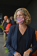 Nassau County Executive LAURA CURRAN wears a face mask with American flag design county event commemorating 19th anniversary of September 11 terrorist attacks with Remembrance Ceremony at Eisenhower Park, with names read of 348 county residents killed that day. Event was held at Harry Chapin Lakeside Theater, instead of 9/11 Memorial across the pond, because of rain prediction.