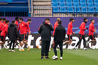 Atletico de Madrid's assistant Mono Burgos talks with Diego Simeone during the practice session the day before the EUFA Champions League match between Atletico de Madrid and FC. Barcelona at Vicente Calderon in Madrid. April 13, 2016. (ALTERPHOTOS/Borja B.Hojas)