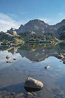 Fremont Peak reflected in Island Lake, Bridger Wilderness, Wind River Range Wyoming