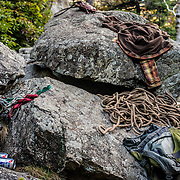 Ed's and my gear sprawled out before climbing a 5.7