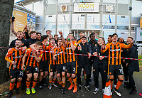 Hull City players celebrate with fans outside the ground<br /> <br /> Photographer Alex Dodd/CameraSport<br /> <br /> The EFL Sky Bet League One - Hull City v Wigan Athletic - Saturday 1st May 2021 - KCOM Stadium - Kingston upon Hull<br /> <br /> World Copyright © 2021 CameraSport. All rights reserved. 43 Linden Ave. Countesthorpe. Leicester. England. LE8 5PG - Tel: +44 (0) 116 277 4147 - admin@camerasport.com - www.camerasport.com